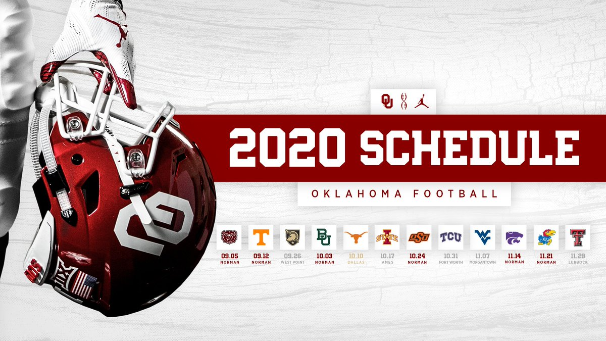 Oklahoma's 2020 Big 12 Football Schedule Has Been Announced