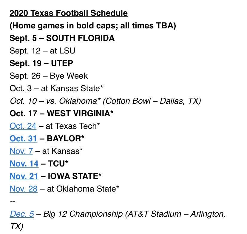 Texas' 2020 Big 12 Football Schedule Has Been Announced