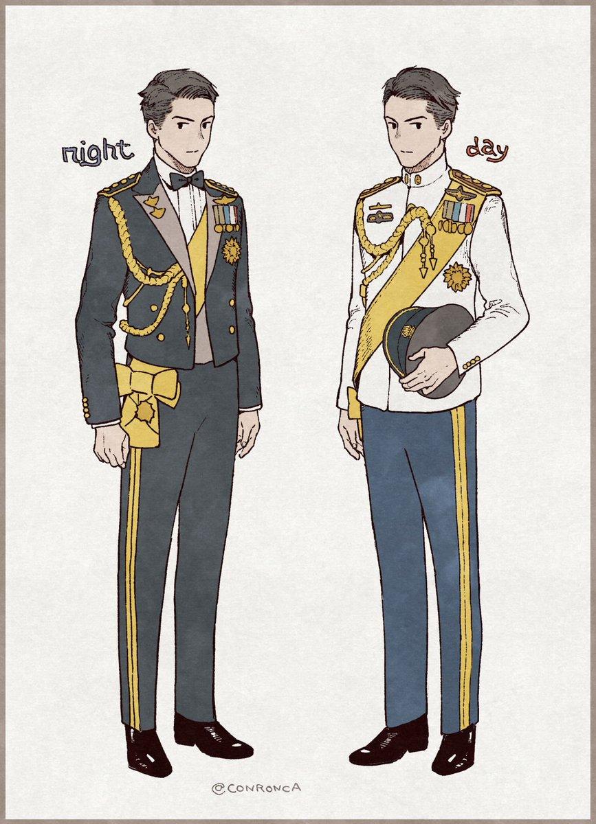 マティーン王子の夜の装い、軍服風なのに襟がタキシードでボウタイつけてるのめちゃくちゃ素敵だった