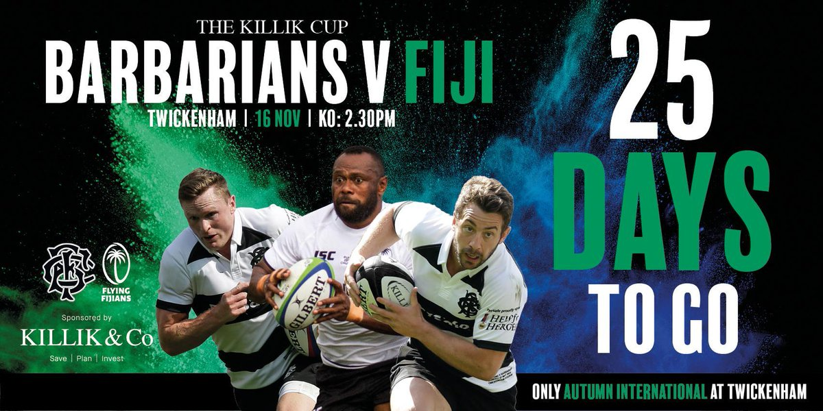 test Twitter Media - Today marks 25 days to go until the world-famous invitational side @Barbarian_FC take on @fijirugby at Twickenham 🌏  Don't miss out ➡ https://t.co/s7om1xqDwk https://t.co/epGXLHbDbt