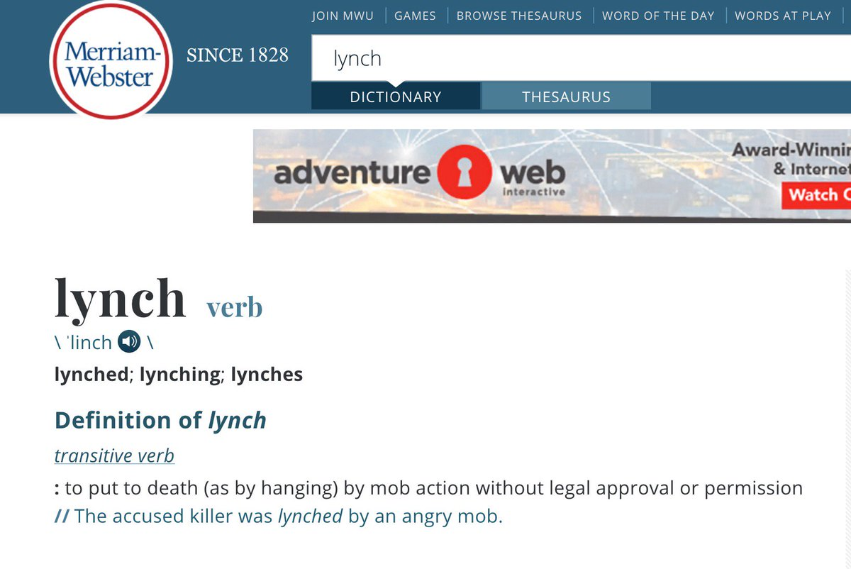 """Derek Hunter on Twitter: """"Liberals redefine words based on their political  need at any given moment. But #Lynching has a definition, and it's not the  one they're clutching their pearls over now."""
