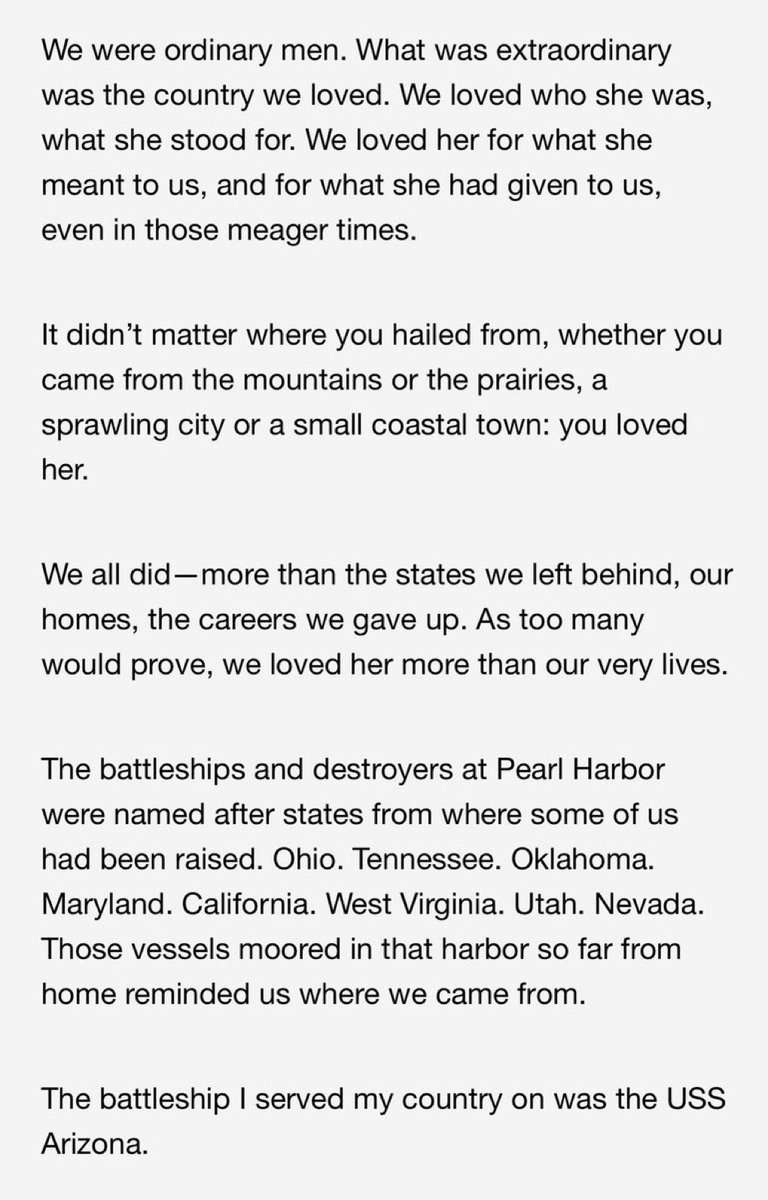 Take a moment to read this quote from Pearl Harbor Survivor Donald Stratton...he is one of THREE remaining.
