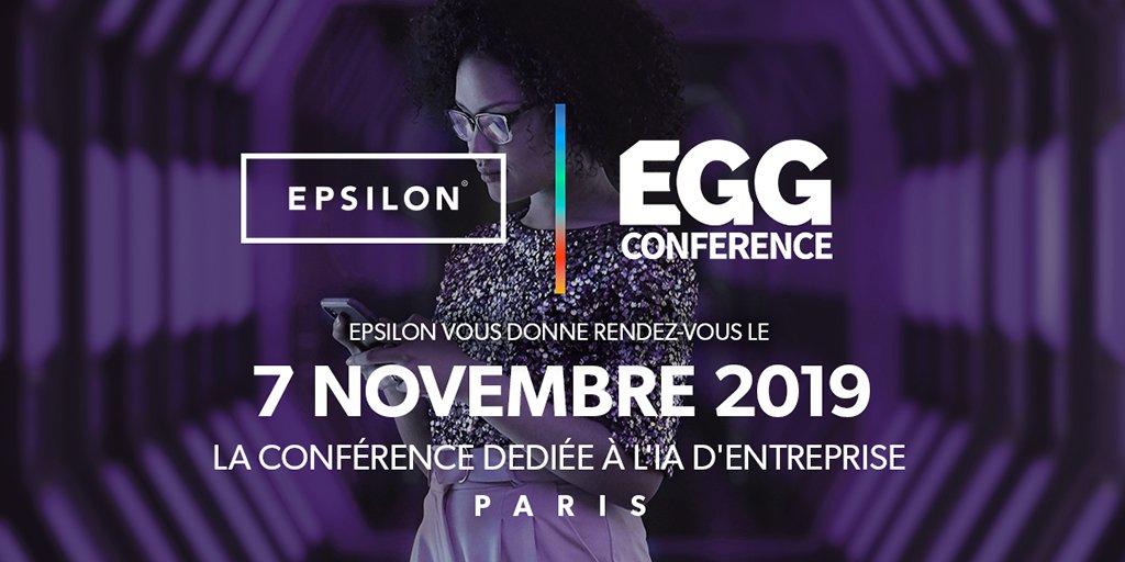 [EVENT] EPSILON France participe à EGG Conférence 2019, la plus grande conférence dédiée à l'IA d'entreprise organisée par @dataiku le 7 novembre prochain.  Inscriptions ➡️ https://t.co/bMUjqojpXl    #eggparis2019 #ai #data #datascience #datamarketing #NousSommesEpsilon https://t.co/CVSLDJN36p