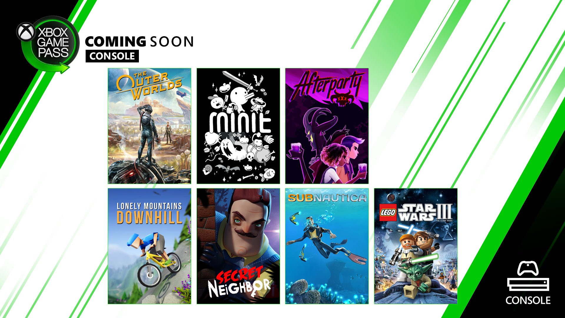 The Outer Worlds, Minit, Afterparty, Lonely Mountains Downhill, Secret Neighbor, Subnautica, and LEGO Star Wars III box art on a white background with green blades and black corners. Image reads: Xbox Game Pass Coming Soon for Console