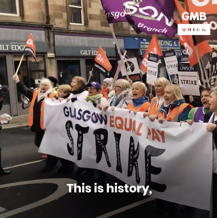 One year ago the women of Glasgow made history. Today we continue our fight for equal pay for every worker. #EqualPay