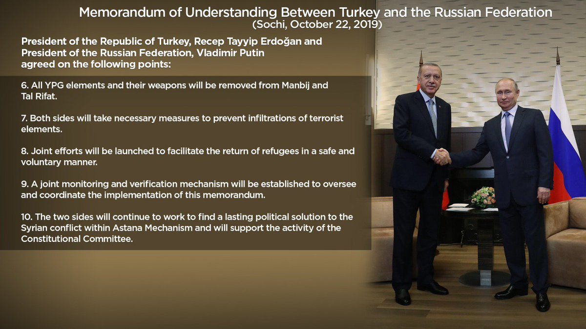 President of the Republic of Turkey, @RTErdogan and President of the Russian Federation, Vladimir Putin agreed on the following points; #TurkeyWon 🇹🇷 #operationspringsofpeace #TurkeyisnotAlone