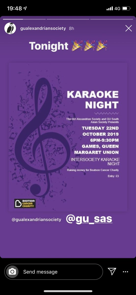 GREAT NIGHT at the @GUAlexandrian & #SAS for hosting a fantastic Kareoke Night @GlasgowUniGrads #fundraise #singalong #festivaloflights 💛