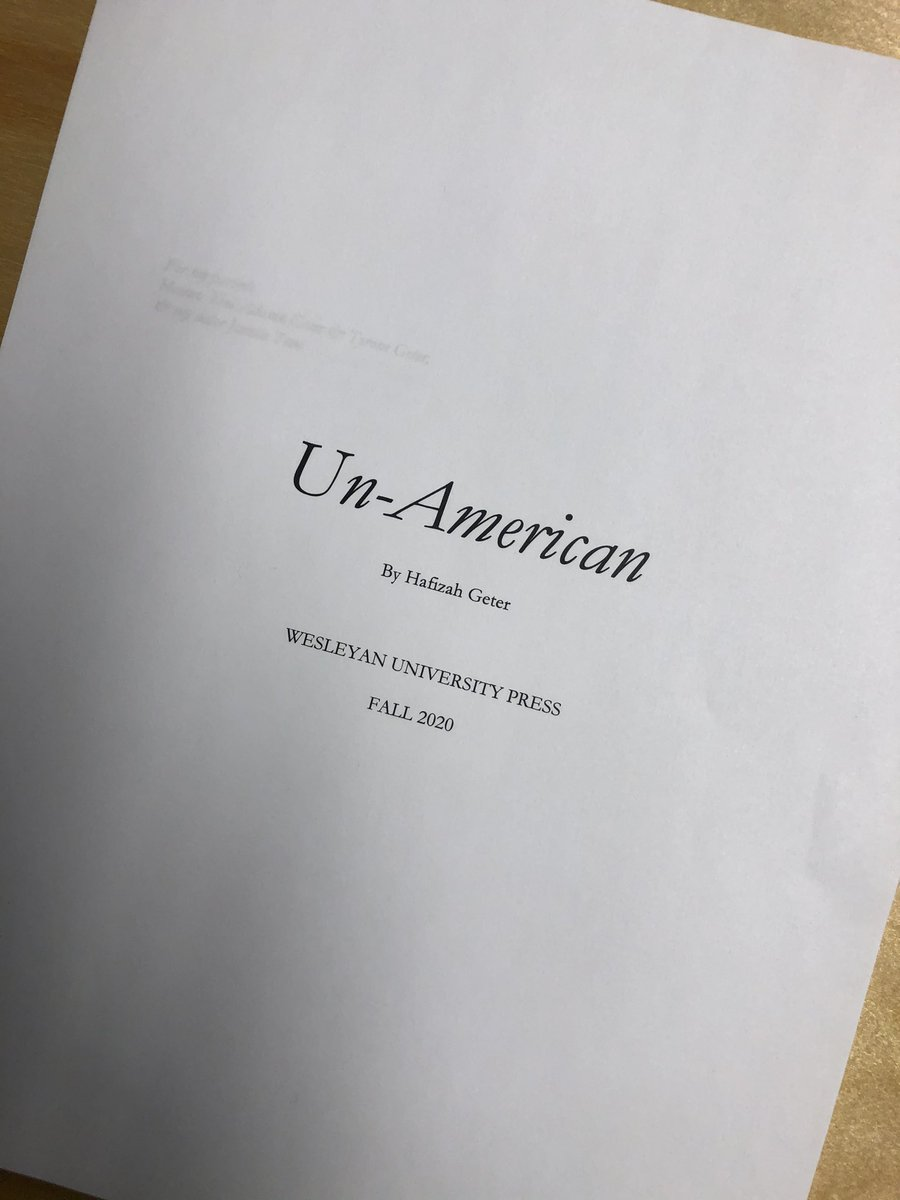 BEYOND EXCITED to share that my debut poetry book, UN-AMERICAN, will be out Fall 2020 from the incredible Wesleyan University Press!!