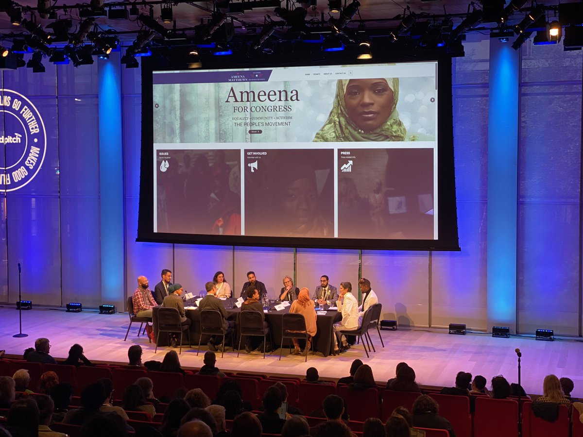 So excited to see my friend @AmeenaMatthews at #goodpitch speaking in support of a very powerful new film called Two Gods! So excited to learn she is running for Congress!