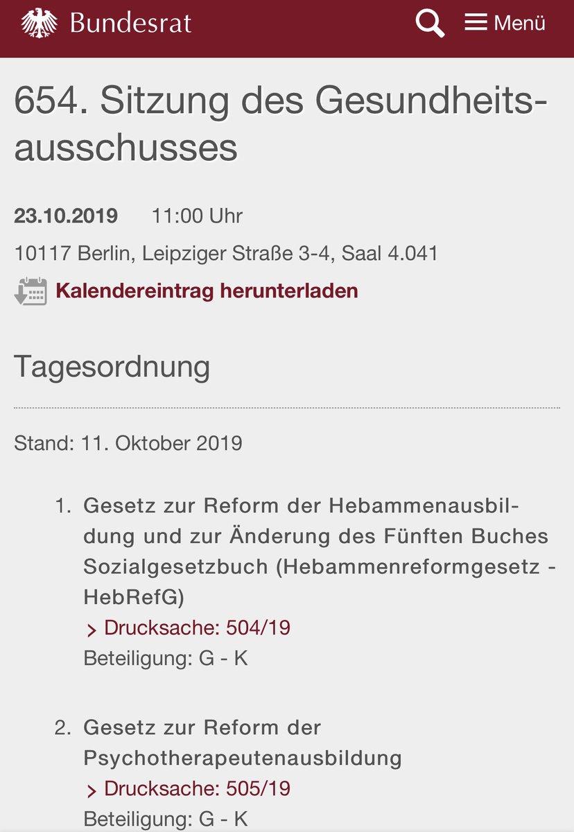 morgen #PsychThG im gesundheitsausschuss des @bundesrat: wichtige reform 💪🏻 für die psychotherapeutInnen & die psychotherapeutische versorgung!  @Sabine_Baetzing @StM_Klose  #reform #psychotherapeutenausbildung https://t.co/8aQdNnbjOI