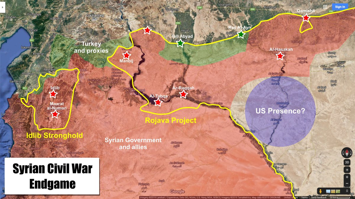 Syrian Civil War Endgame map - how the Syrian Government/Russia and Turkey plan to takeover the last two independent regions in #Syria (excluding Al-Tanf). Based off of reports from @Syria_Rebel_Obs and the recent development from the Sochi meeting between Putin & Erdogan.