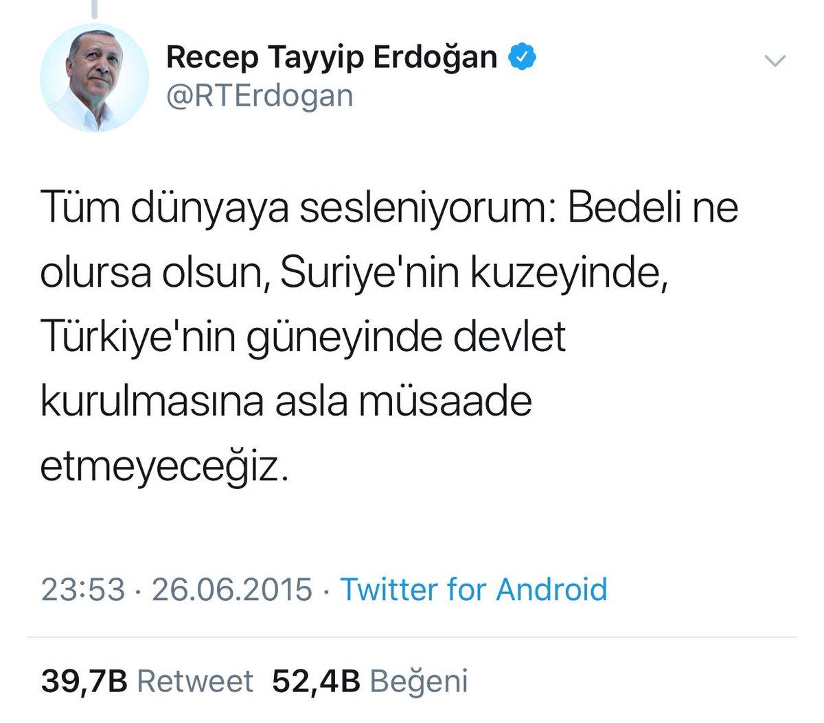 """Tarih: 26.06.2015 Cumhurbaşkanımız @RTErdogan: """"Tüm dünyaya sesleniyorum: Bedeli ne olursa olsun, Suriyenin kuzeyinde, Türkiyenin güneyinde devlet kurulmasına asla müsaade etmeyeceğiz."""" #TurkeyWon"""