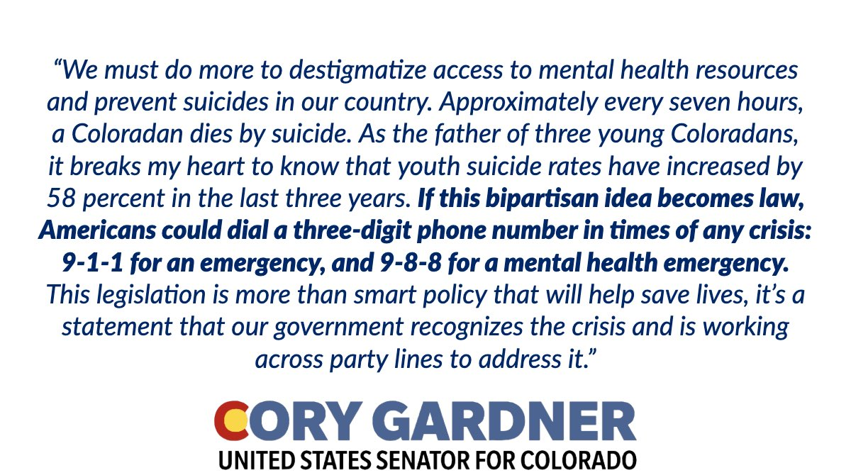 Today I introduced a bill to create a 3-digit phone number for a suicide prevention and mental health crisis hotline. This bipartisan idea would allow Americans to dial 3 digits for any crisis: 9️⃣1️⃣1️⃣ for an emergency, and 9️⃣8️⃣8️⃣ for a mental health emergency Full statement ⬇️