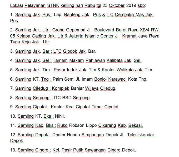 LOKASI PELAYANAN #SAMSAT KELILING Rabu, 23 Oktober 2019
