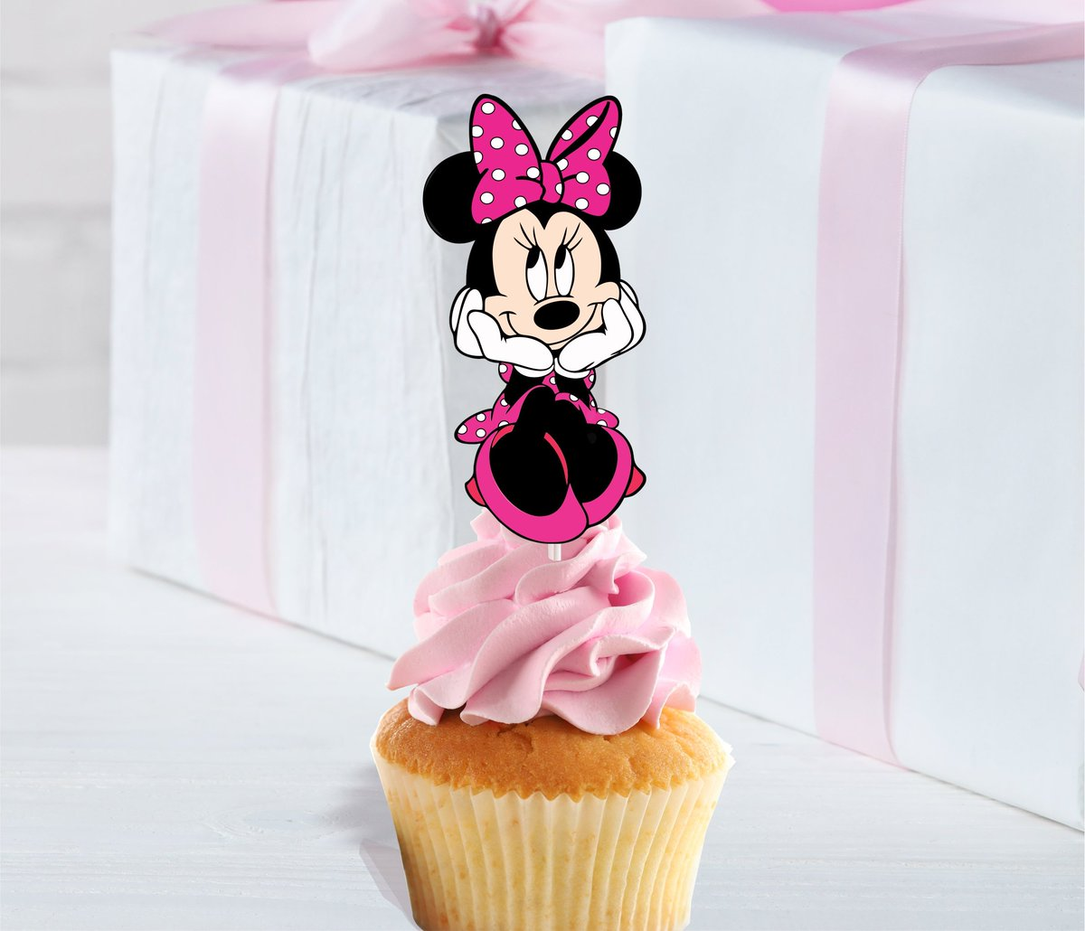 Set of 12 MINNIE MOUSE Cupcake Toppers Cupcake Picks Cupcake Decorations