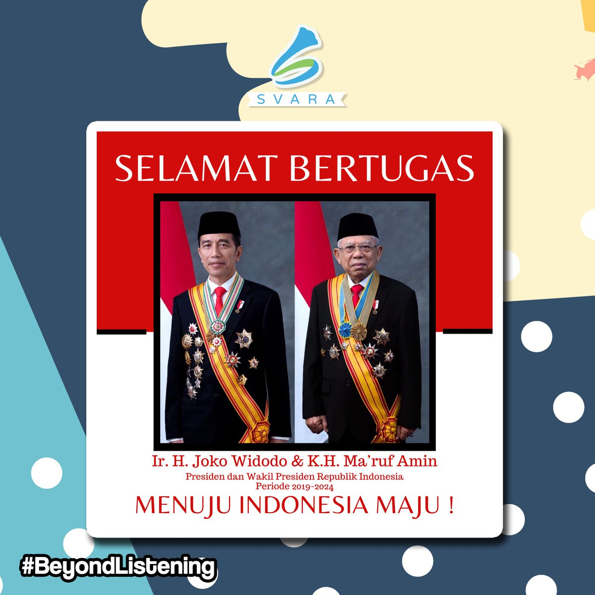 Selamat dan sukses kepada Ir. H. Joko Widodo dan Prof. Dr. (H.C.) K. H. Ma'ruf Amin sebagai Presiden dan Wakil Presiden Republik Indonesia 2019-2024 Beserta jajaran kabinet Indonesia Maju, Semoga tetap amanah menjalankan tugas untuk Indonesia yg lebih maju. . #beyondlistening pic.twitter.com/xgUImpt6zc