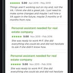 I work as a real estate VA do administrative duties like manage CRM, prepare contracts, handle calls and emails, manage social media account. Below are feedbacks from my clients. Check: https://t.co/W6NVx6tlNb #realestateva #virtualassistant
