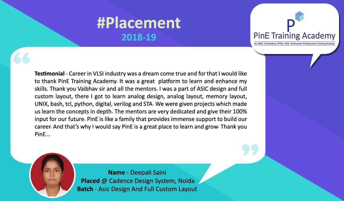 Pine Academy On Twitter Placement2019 Congrats Deepali Saini Placed At Cadence Design System Noida Batch Asic Design Full Custom Layout Get Full Placement List Https T Co 10iv9dspc9 Asicdesign Customlayout Vlsi