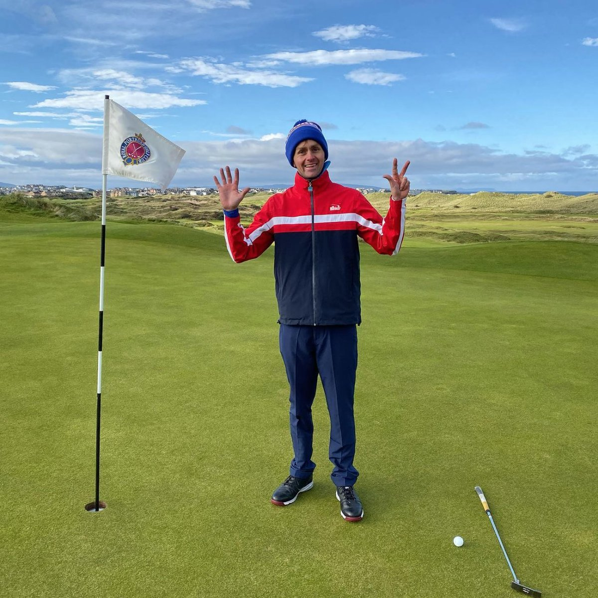 @LukeWillettGolf has now chalked up 8 @TheOpen courses – great welcome yesterday @royalportrush – & 385 miles cycling in 5 days. Incredible effort to raise funds for @GolfRootsHQ charity to change the lives of young people through golf. Back Luke now at bit.ly/2lFLQbS