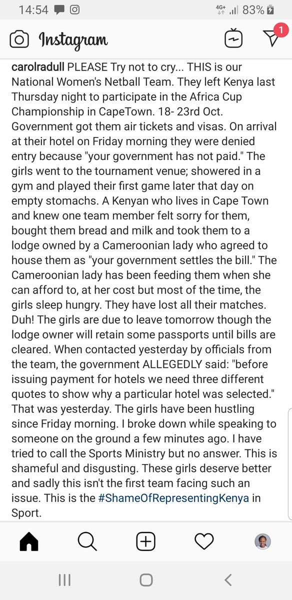 Our National Women's Netball Team is shamefully stranded and hungry while representing Kenya at the Africa Championships in Cape Town. Please read attached #ShameOfRepresentingKenya in Sport.