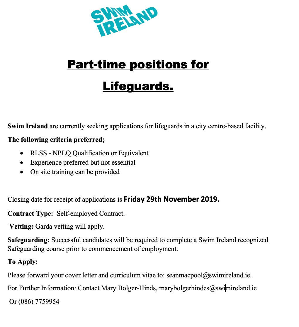 Sean Macdermott Street Swimming Pool On Twitter Part Time Positions For Lifeguards Swim Ireland Are Currently Seeking Applications For Lifeguards In A City Centre Based Facility The Following Criteria Preferred Rlss Nplq Qualification