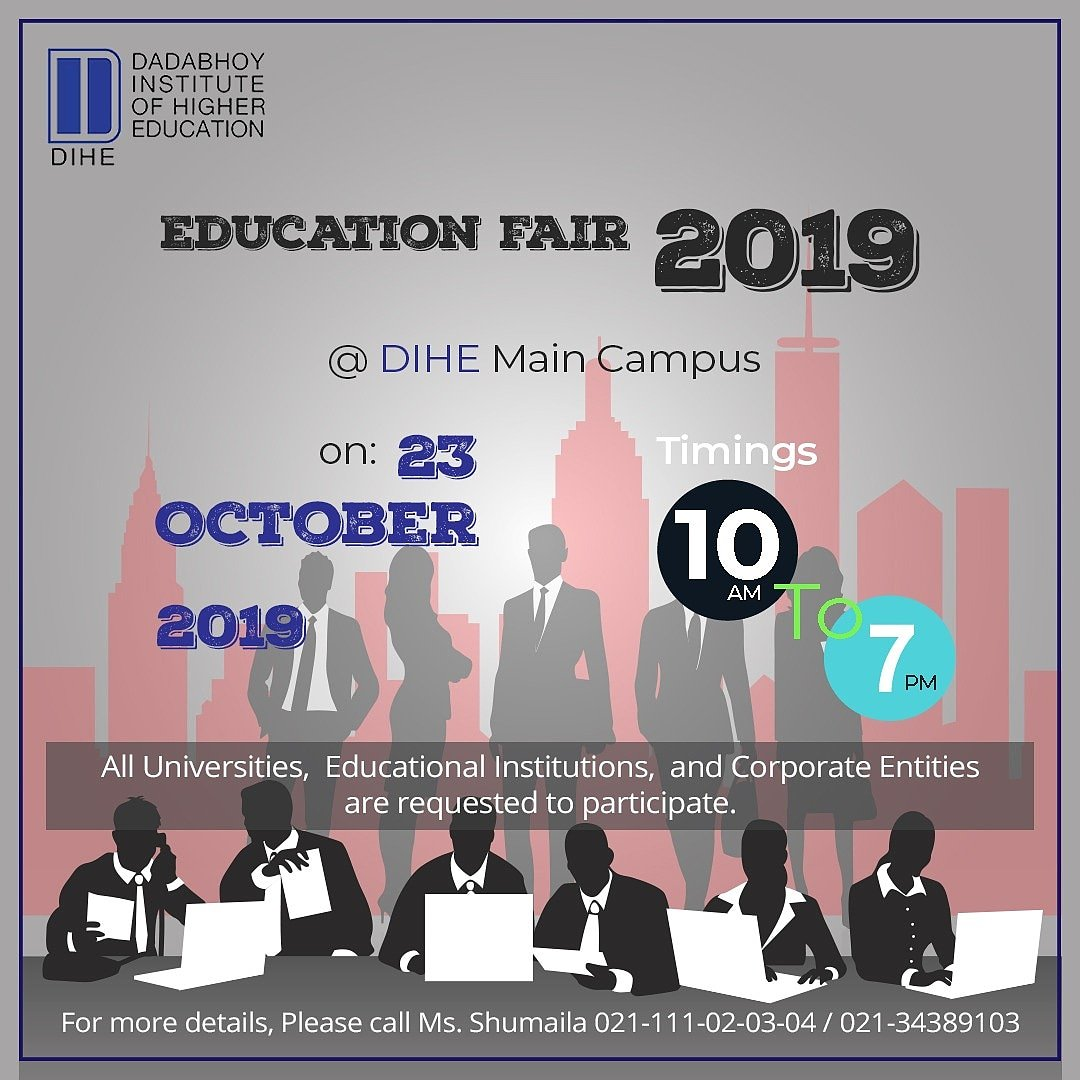 Education Fair 2019 happening now at New Wing,  Main Campus.   All universities,  Educational Institutes,  and Corporate Entities are invited.    #EducationFair2019 #DIHE #DIHEANpic.twitter.com/dOv3ydbp5O