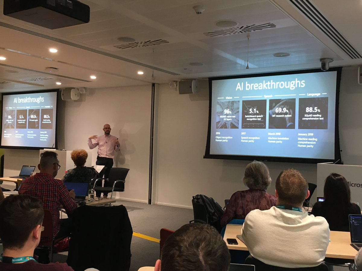 Starting Day Two of @microsofteduk #MSBootcamp with @crothwell talking about AI