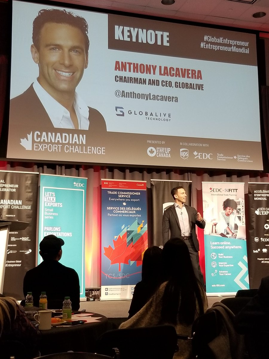 @AnthonyLacavera at #GlobalEntrepreneur #CanadianExportChallenge organised by @Startup_Canada. Great insides and advices about how Canadian entrepreneurs can shape their mind set to go global. @LatAmStartupsCo https://t.co/ho5QrbFZrT