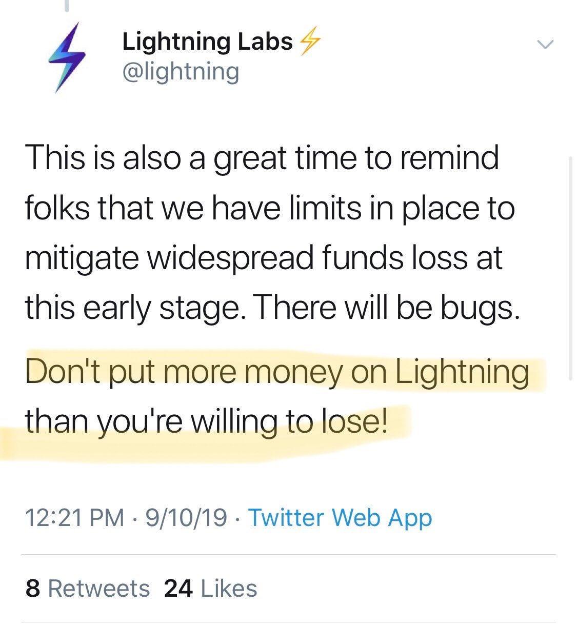 Lightning Labs tweet