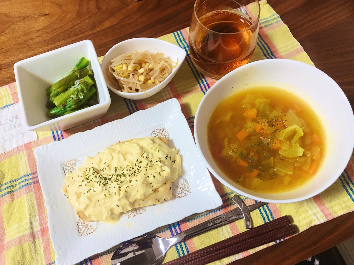 今日はメカジキ南蛮!コンソメカレースープ、アスパラゆでたの、豆もやしのナムルでした🤗手作りタルタルソースで作るメカジキ南蛮 | レシピ動画のkurashiru [クラシル] #kurashiru #クラシル @kurashiru0119 から