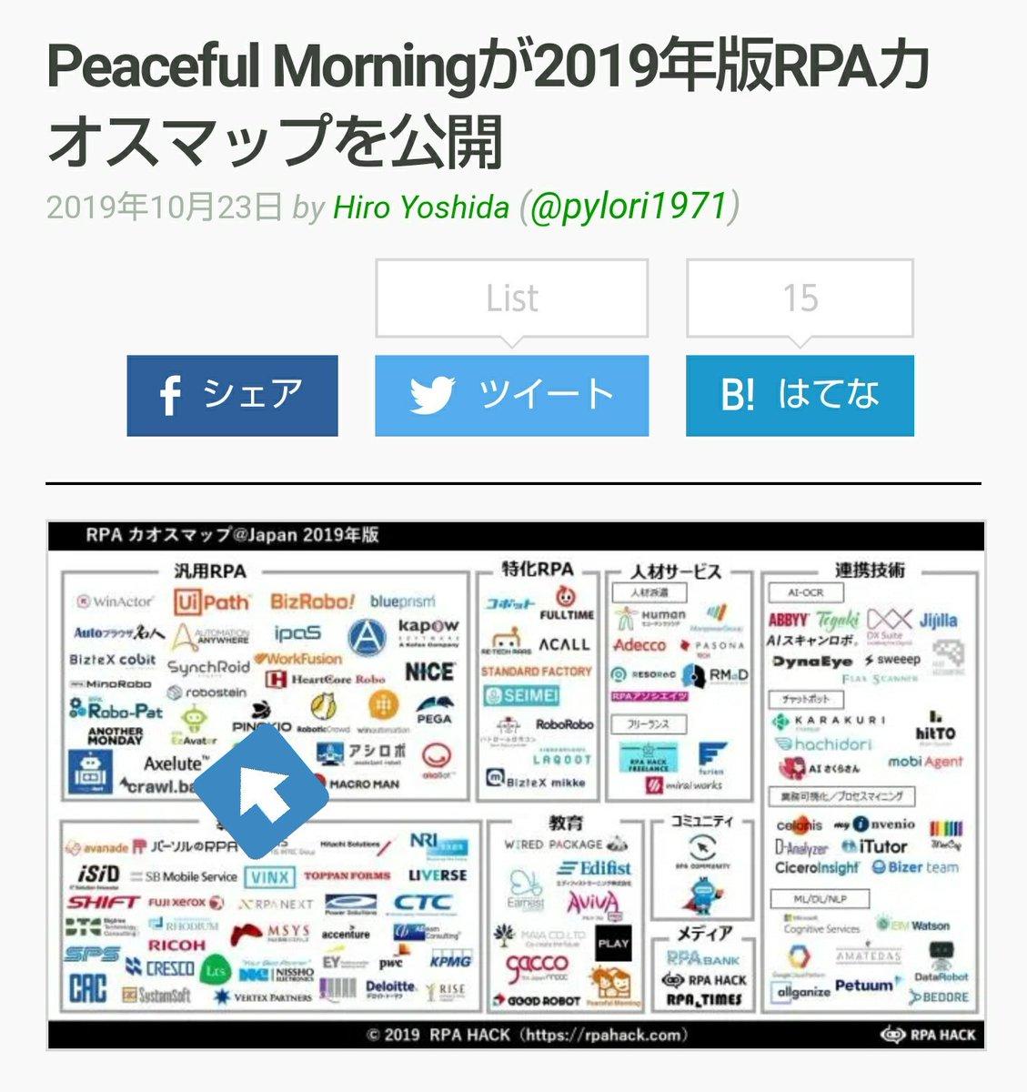Peaceful Morningが2019年版RPAカオスマップを公開  |  TechCrunch Japan  @jptechcrunchからテリロジーのも入ってるねー