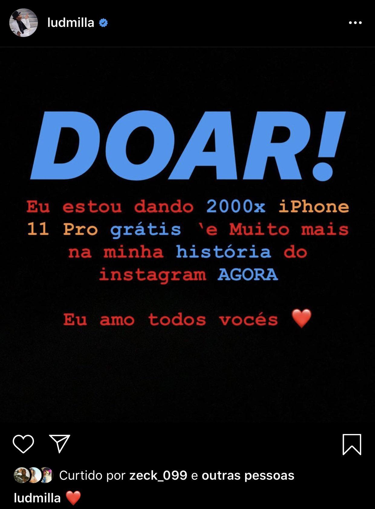 Com promessa de doar 2 mil iPhones 11 Pro, Ludmilla tem sua conta no Instagram hackeada