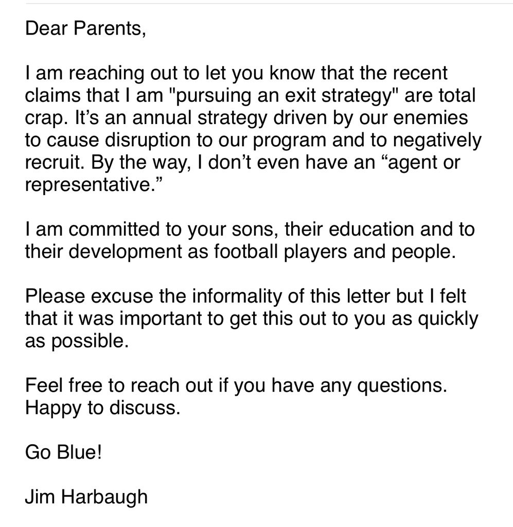 Harbaugh calls NFL rumors 'total crap,' spread by 'enemies'