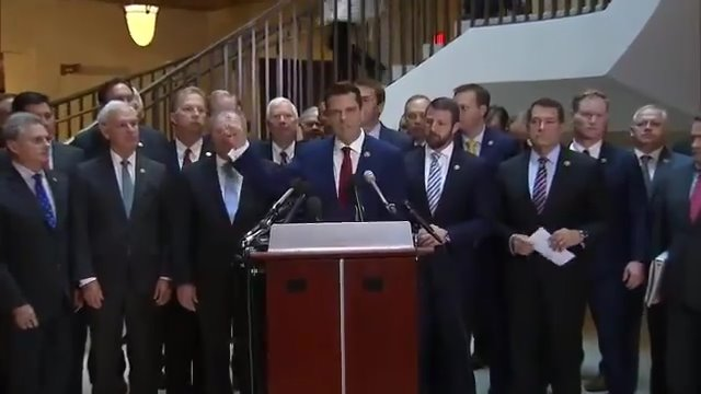 I'm gathered here with dozens of my congressional colleagues underground in the basement of the Capitol.   If behind those doors they intend to overturn the results of an American presidential election, we want to know what's going on. #StopTheSchiffShow https://t.co/c9Ks9VneYt