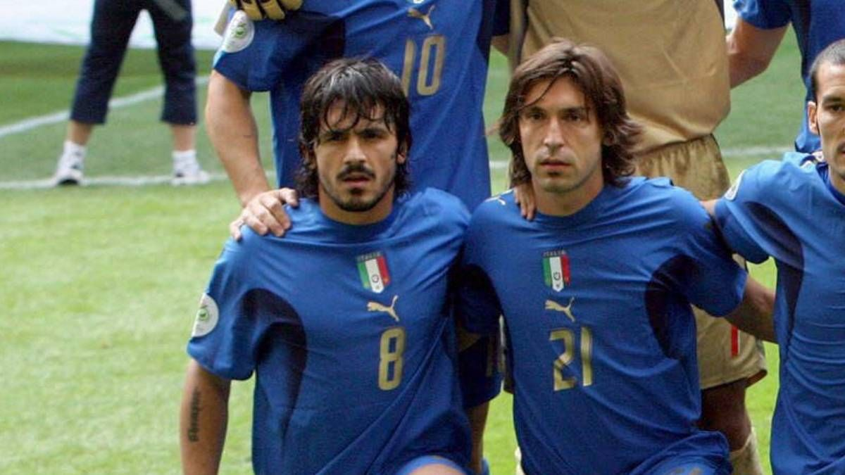 """Gennaro Gattuso on Andrea Pirlo:   """"You see Pirlo, honestly he's a son of a bitch. One day I left my phone on the table and he sent a text to AC Milan's vice-president offering him my sister.""""  Legend 😂😂👏"""
