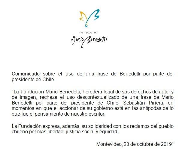 Fundación Mario Benedetti On Twitter Comunicado Sobre El