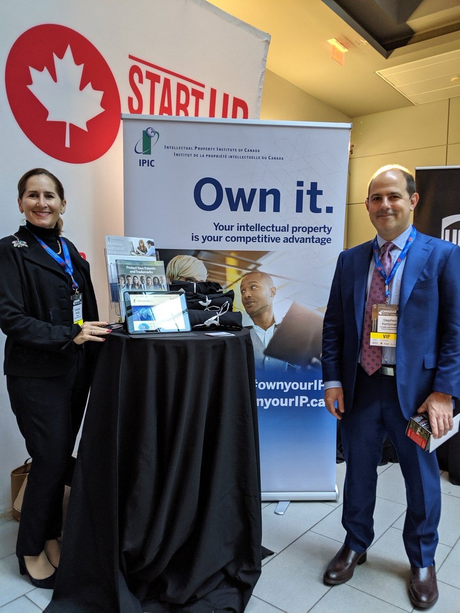 Come visit us at our booth at @Startup_Canada #CanadianExportChallenge! A big thanks to Chair of the Public Awareness Committee, Georgina Starkman Danzig, and IPIC Member Stephen Kertzman for judging the Wildcard Pitch Round. #GlobalEntrepreneur #cdnIP https://t.co/1rFvA8xRVM