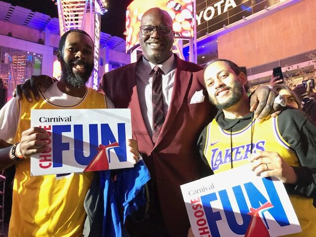 #ICYMI Last night on @NBAonTNT we had some very special guests, but the best were the two lucky audience members I gave a @CarnivalCruise to. As CFO, I get to do fun things like that! #ChooseFun #Ad