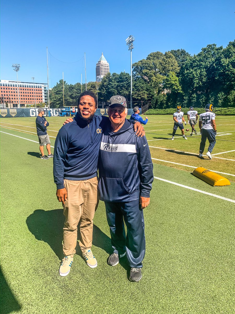 Surreal moment for me today. The @RamsNFL practice at Tech today and @sonofbum who drafted me to the @dallascowboys .I got a chance to see him and tell him thank you.