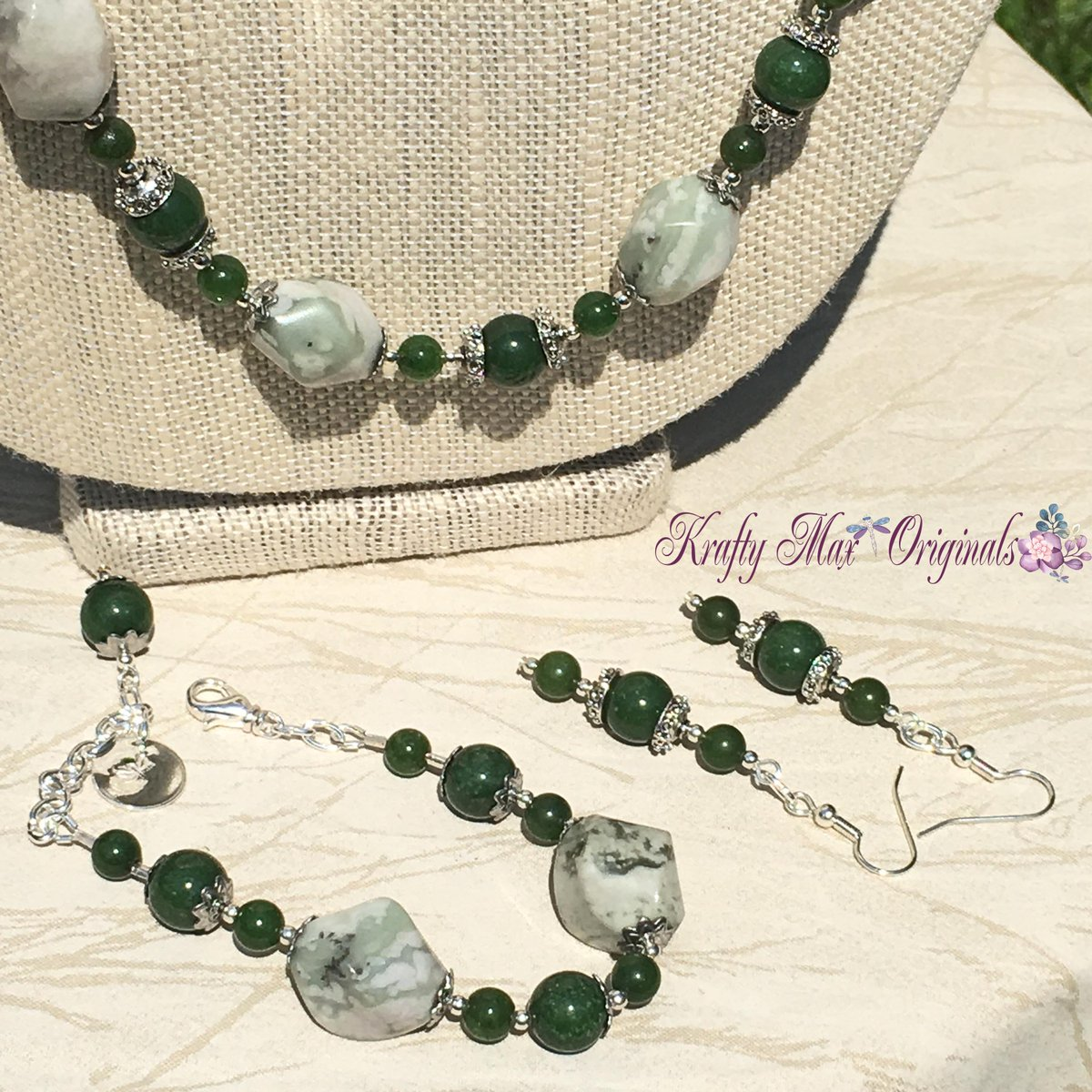 Moss Green and Dyed Jade – 3 Piece Handmade Necklace Set (discounted from $57 down to $21)  #handmade #jewelry #buyhandmade #handmadelove #handcrafted #kraftymax #kmax #discount #sale #bargain #save #clearance
