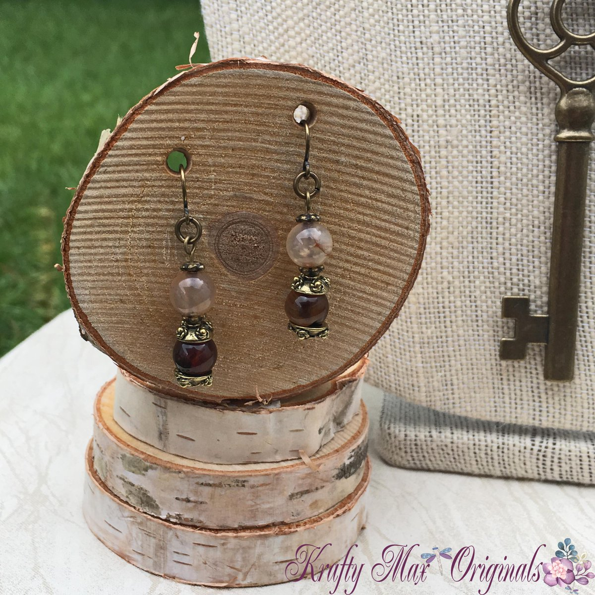 Fall Agate with Gold Key Necklace Set (discounted from $43 down to $20)  #handmade #jewelry #buyhandmade #handmadelove #handcrafted #kraftymax #kmax #discount #sale #bargain #save #clearance