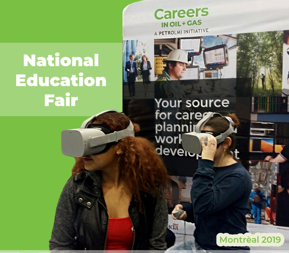 PetroLMI had an amazing time at the National Education Fair last week!  These ladies got to play with the new VR experience for industry careers in areas such as conventional drilling, automated drilling, SAGD, mining, processing and even pipelines. #EducationFair2019 pic.twitter.com/jlsc18vqdy