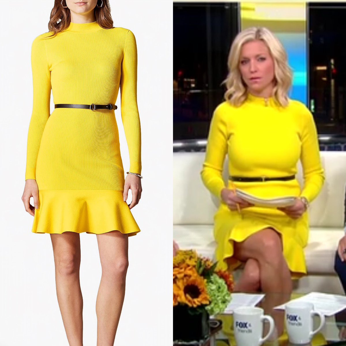 Ainsley Earhardt (@ainsleyearhardt) wore a Karen Millen Yellow Ribbed Knit Peplum Hem dress today on #FoxandFriends - the dress is no longer sold.  #foxnews #foxnewsfashion #ainsleyearhardt https://www.instagram.com/p/B3-xHOmggiN/?igshid=3fvyrltmqvej …pic.twitter.com/qdwvcg0uPg