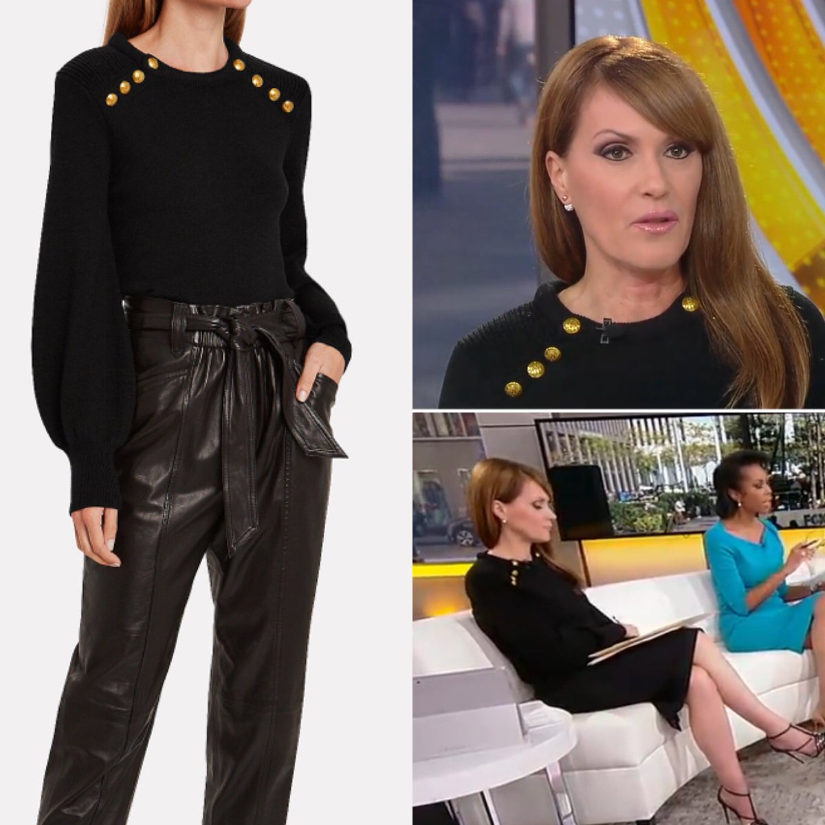 Dagen McDowell (@dagenmcdowell) appears to have appears to have worn an ALC 'Kayla' Black Button Embellished Wool Sweater today on #Outnumbered - the sweater is available via Intermix.  #foxnews #foxnewsfashion #foxbusiness https://www.instagram.com/p/B3-x-mxA3G2/?igshid=x9exfh1ykwp9 …pic.twitter.com/8YBo5Si19Z