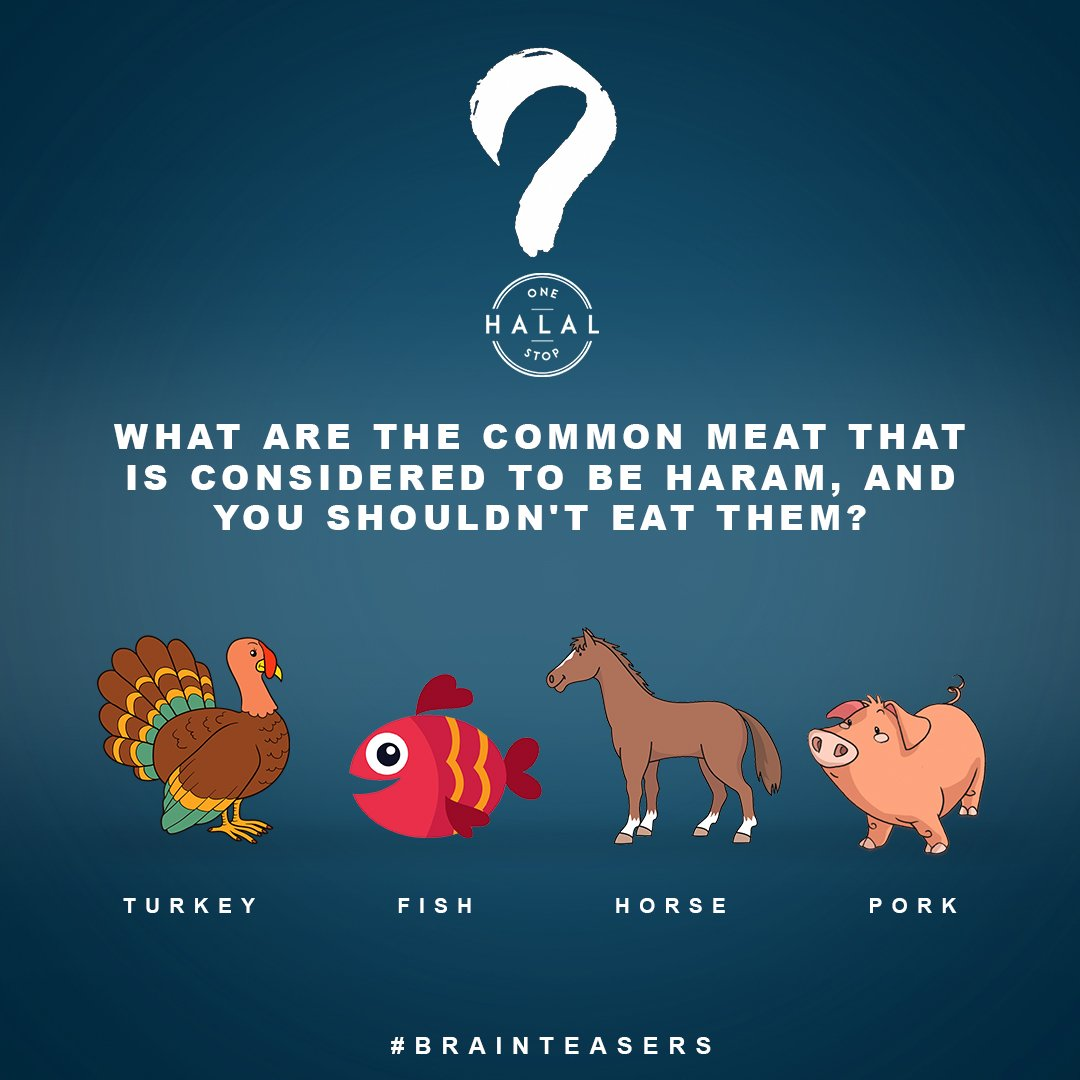 Let us put your knowledge to test which meats are considered haram.  Comment below which of these animals meat is haram.  #onestophalal #brainteaser #halalbihalal #harammeat