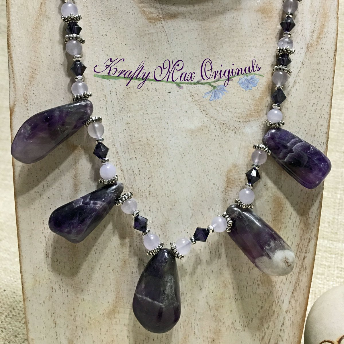 Amethyst Drops with Swarovski Crystals and Quartz Necklace Set (discounted from $51 down to $24)  #handmade #jewelry #buyhandmade #handmadelove #handcrafted #kraftymax #kmax #discount #sale #bargain #save #clearance
