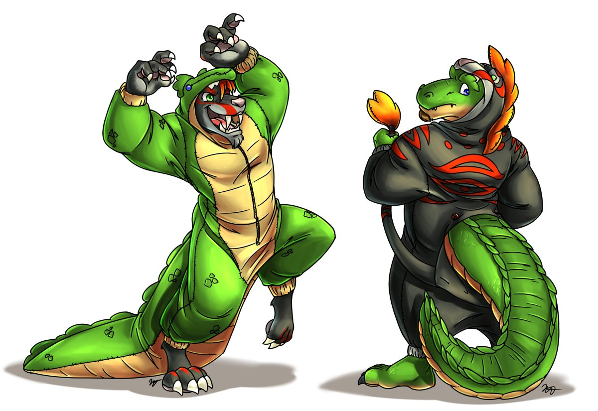 For Halloween @Grimfloof and i decided we would dress as each other I guess were either a Crocotooth or maybe a Saberdile 🎨: @BriarsThorne
