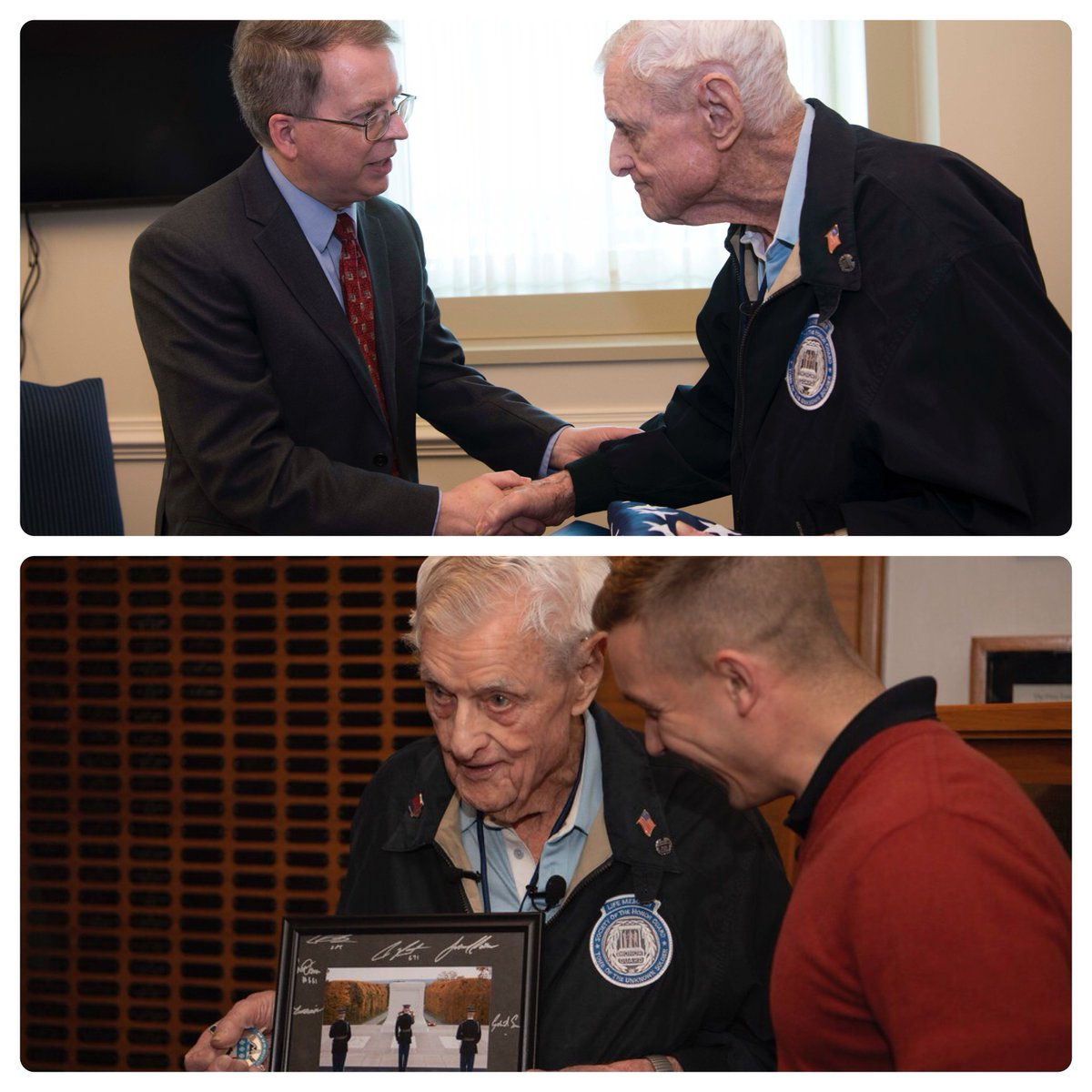 I was honored to welcome retired @USArmy SSG Jack Eaton to the Pentagon for the first time. At 100-years-young, Mr. Eaton served during WWII & is the oldest living Tomb of the Unknown Soldier Sentinel, serving as one of the guards that have kept watch over the tomb 24/7.