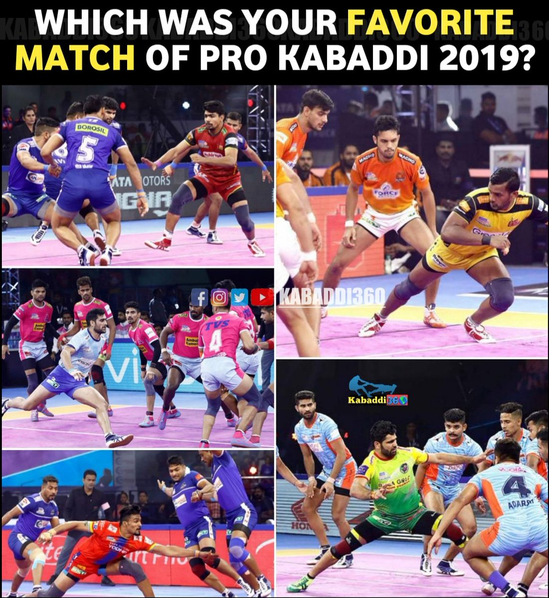 Pick your choice 🤩 and let us know in the comments 👇🏻 which match was your favorite among all?   #vivoProKabaddi  #IsseToughKuchNahi  #PKLWithKabaddi360