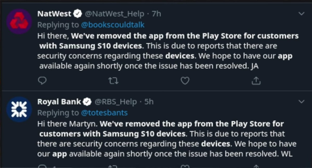 Now, some bank is removed the app from Play Store for customers with Samsung S10 series because of indisplay fingerprint sensor issue may be fix soon in any update. #GalaxyS10Series pic.twitter.com/c33UFGjEVQ